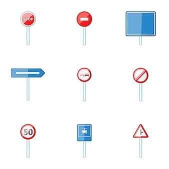 Conjunto de señal de tráfico, estilo de dibujos animados