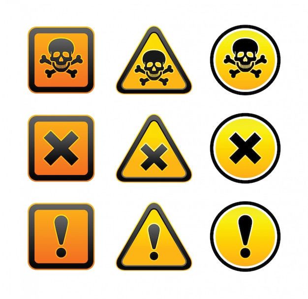 Conjunto de señales de advertencia de peligro