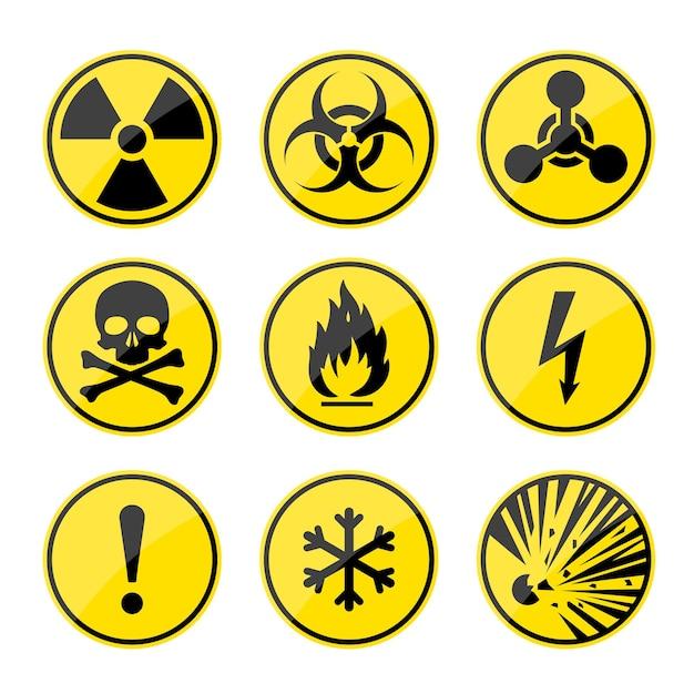 Conjunto de señales de advertencia redondas