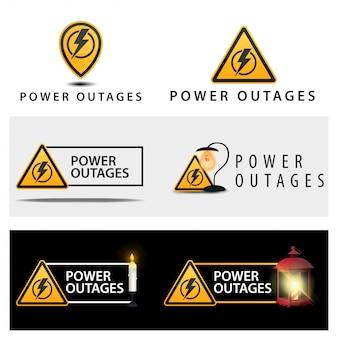 Un conjunto de señales de advertencia sobre un apagón.
