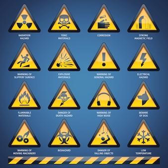 Conjunto de señales de peligro