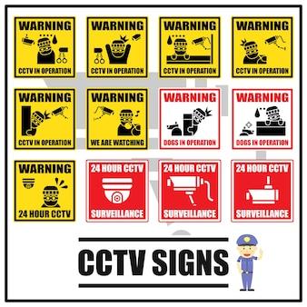 Conjunto de señales de seguridad y símbolos de cctv