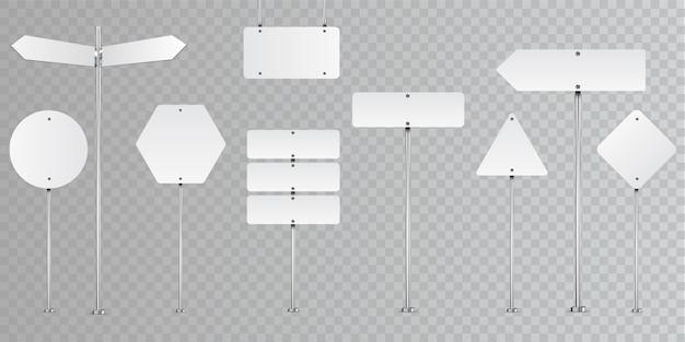 Conjunto de señales de tráfico en blanco aislado en transparente.