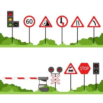 Conjunto de señales de tráfico, varias ilustraciones de vector de señal de tráfico