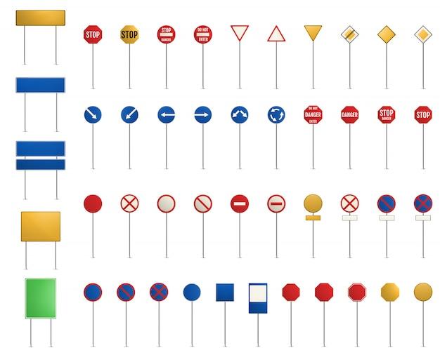 Conjunto de señales viales. señales de tráfico en blanco.