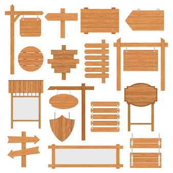 Conjunto de señalizaciones de madera