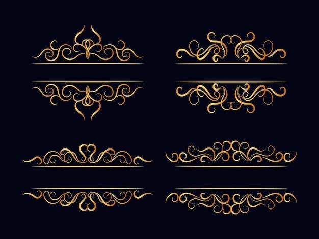 Conjunto de separadores dorados caligráficos