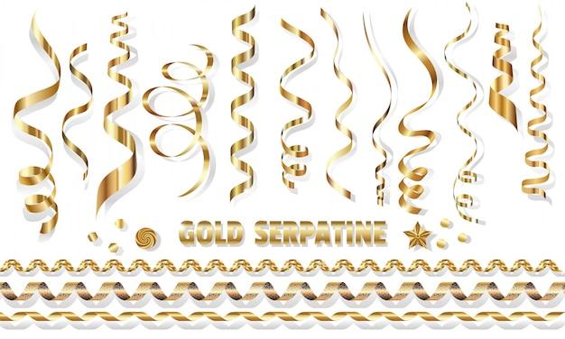 Conjunto serpentina, espirales doradas brillantes sobre blanco