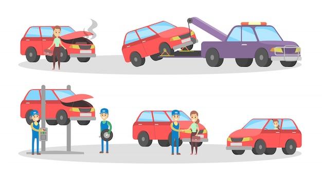 Conjunto de servicio de coche. los mecánicos reparan el automóvil rojo roto y cambian los neumáticos en el garaje.
