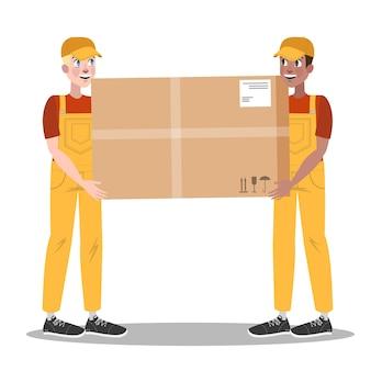 Conjunto de servicio de entrega rápida. dos mensajeros en uniforme con caja del camión. concepto logístico. ilustración