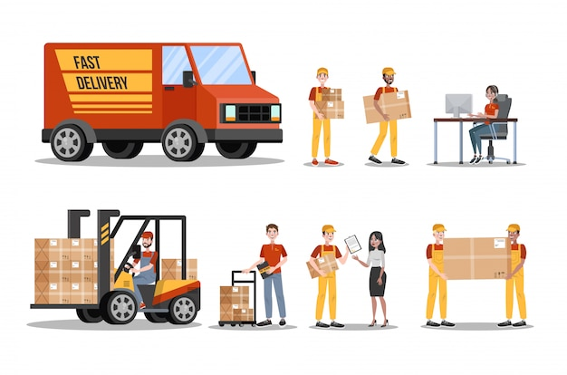 Conjunto de servicio de entrega rápida. mensajero en uniforme con caja del camión. concepto logístico. ilustración en estilo de dibujos animados