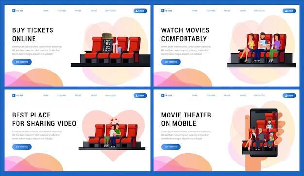 Conjunto de servicios y comodidades en el teatro, como comprar boletos en línea.
