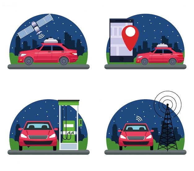 Conjunto de servicios de localización de vehículos gps.
