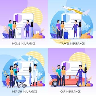 Conjunto de servicios de seguros de propiedad, salud y viaje.