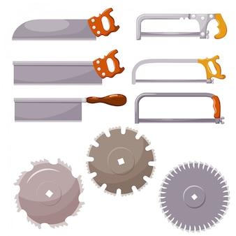 Conjunto de sierras de metal en blanco