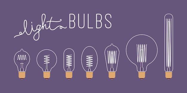 Conjunto de siete bombillas retro apagadas