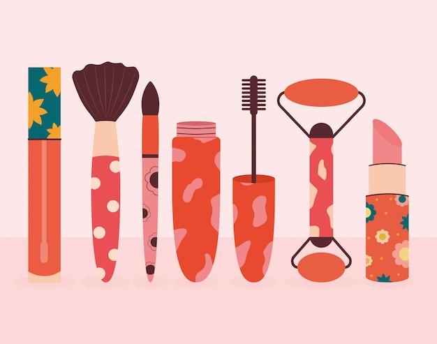 Conjunto de siete iconos cosméticos