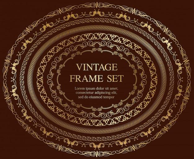 Conjunto de siete marcos vintage ovales de oro aislados en un fondo oscuro. ilustración.
