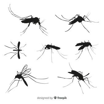 Conjunto de siete siluetas de mosquitos
