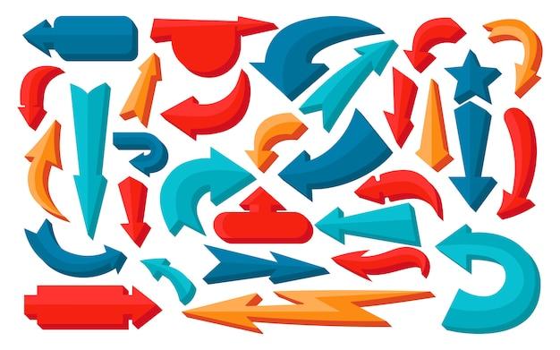Conjunto de signo de flecha. volumen coloreado, iconos de cursor de infografía. símbolo de varias flechas voluminosas diferentes