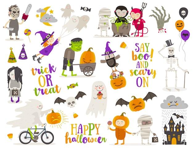 Conjunto de signo de halloween, símbolo, objetos, elementos y personajes de dibujos animados. ilustración.
