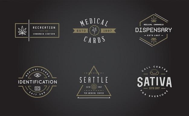 Conjunto de signo de marihuana medicinal o plantilla de etiqueta en se puede utilizar como logotipo.