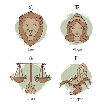 Conjunto de signo del zodíaco dibujado a mano grabado
