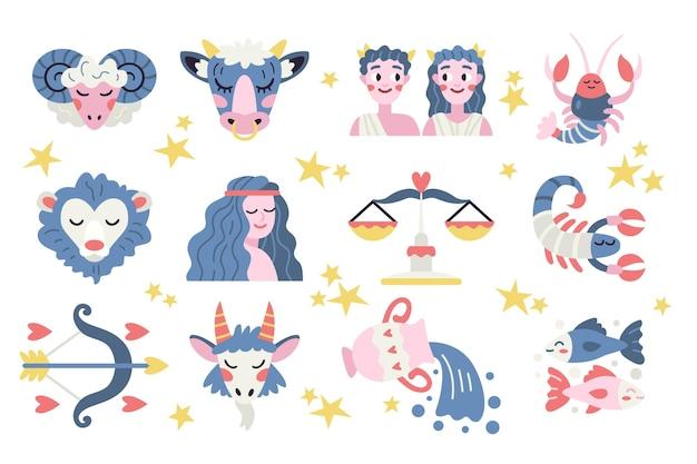 Conjunto de signo del zodíaco dibujado a mano