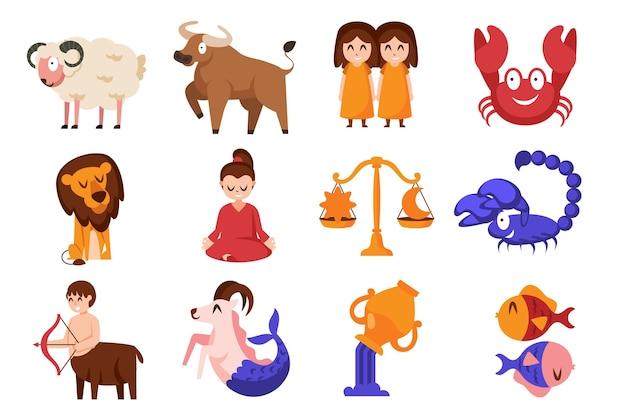 Conjunto de signo del zodiaco de dibujos animados