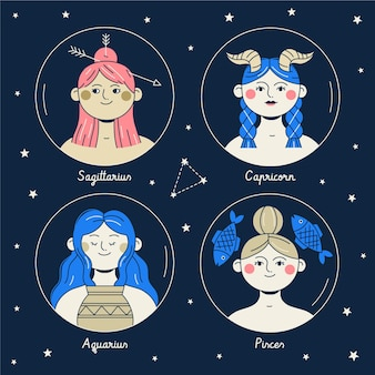 Conjunto de signo del zodiaco de diseño plano