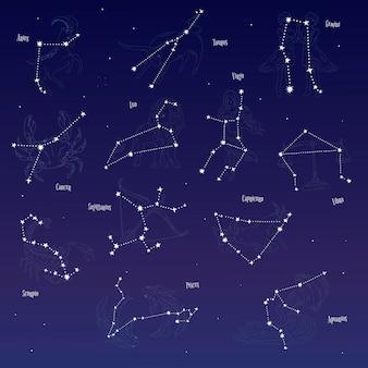 Conjunto de signos astrológicos de estrellas.