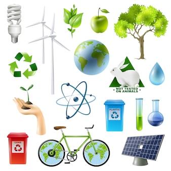 Conjunto de signos de energía verde