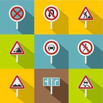 Conjunto de signos, estilo plano