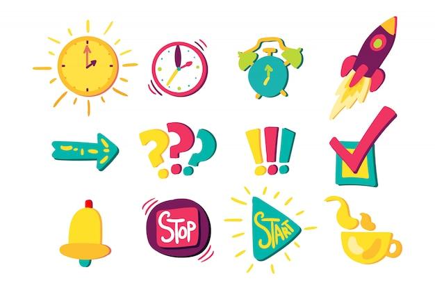 Conjunto de signos de gestión de tiempo
