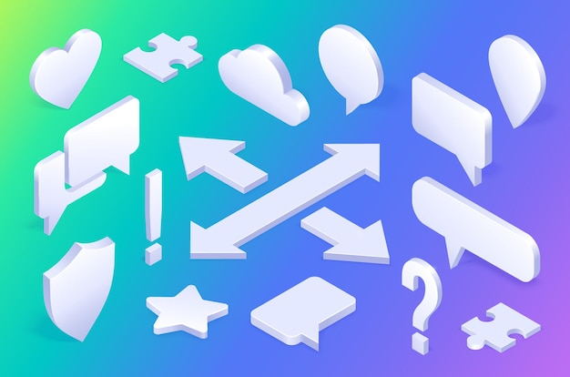 Conjunto de signos de iconos isométricos