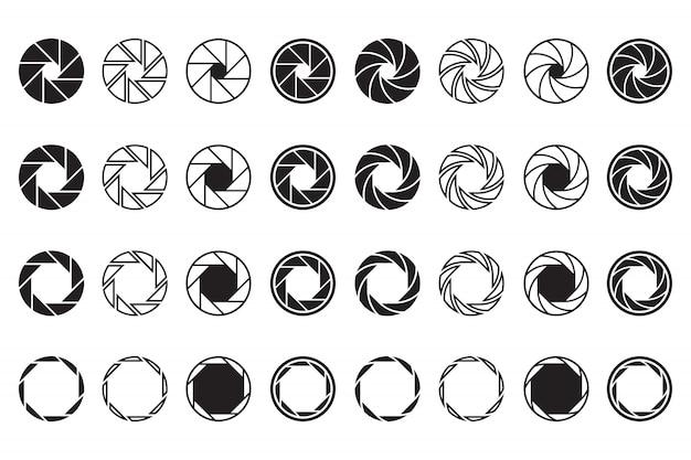 Conjunto de signos de lente de cámara