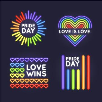 Conjunto de signos de luz de neón del día del orgullo