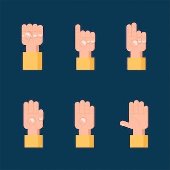 Conjunto de signos de mano contando