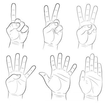 Conjunto de signos de mano de ilustración vectorial monocromo
