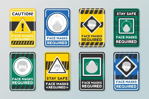 Conjunto de signos requeridos de mascarilla