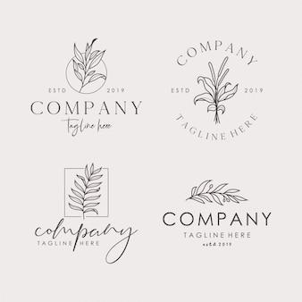 Conjunto de signos de vector floral femenino dibujado a mano o plantillas de logotipo