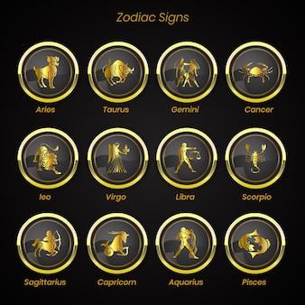 Conjunto de signos del zodiaco de la colección de astrología de símbolos del horóscopo