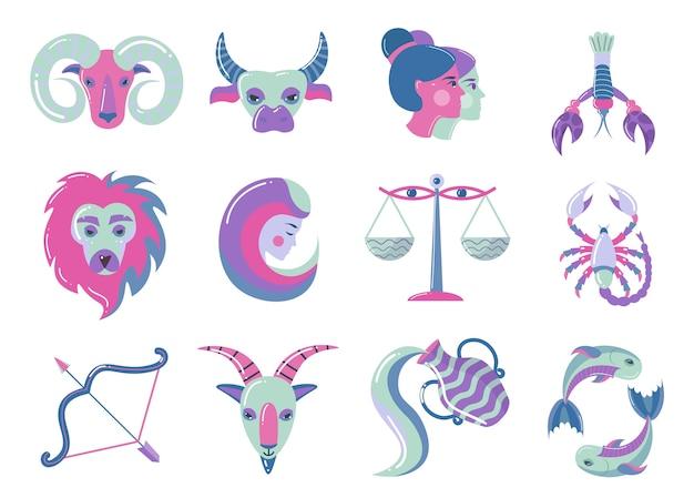 Conjunto de signos del zodíaco de color moderno, para nuevo diseño web. estilo plano.