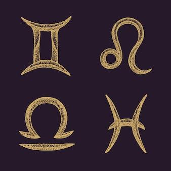 Conjunto de signos del zodiaco dibujados a mano