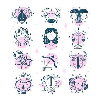 Conjunto de signos del zodíaco dibujados a mano