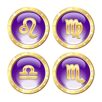 Conjunto de los signos del zodiaco dorado