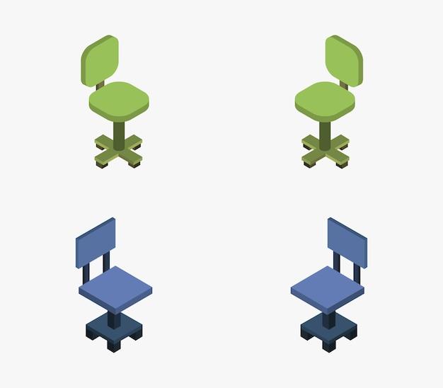 Conjunto de silla de oficina isométrica