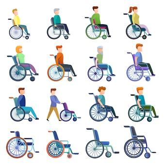 Conjunto de silla de ruedas y personajes, estilo de dibujos animados