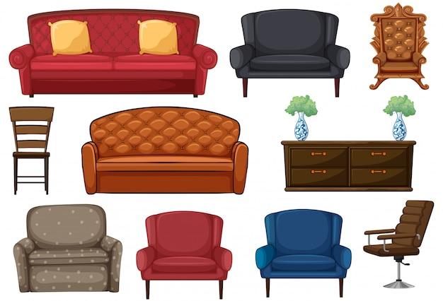 Conjunto de silla y sillón.