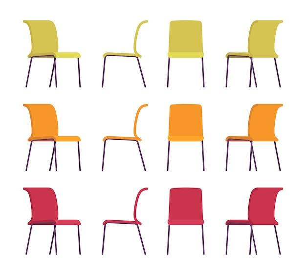 Conjunto de sillas de oficina en diferentes colores.